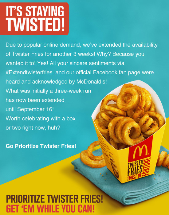 Mcdonald's twister fries price