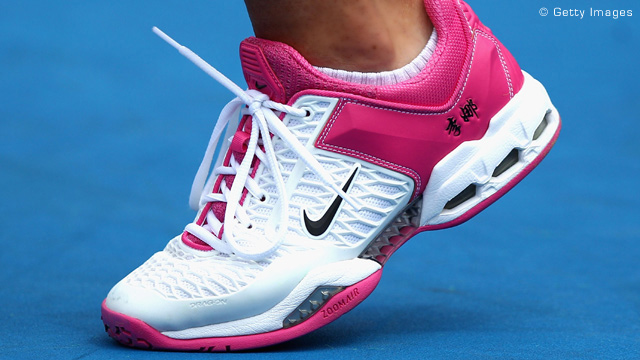 Li Na with her Nike Women's Air Max Cage Tennis Shoes