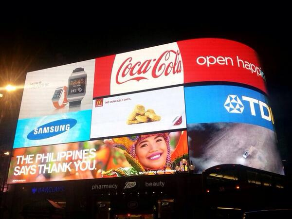 At Picadilly Circus in London,UK: The Philippines Says THANK YOU!  via @Jimenez_Mon