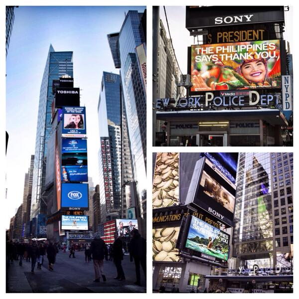 Our #PHthankyou billboards along Times Square in New York City are up! Thank you to the USA for all the support.  via @TourismPHL