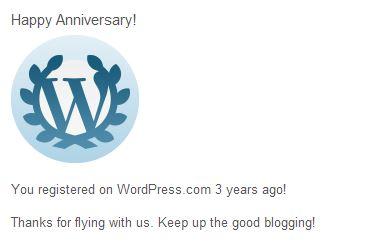 birthday greeting from WordPress